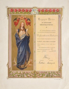 Dyplom Sodalicji Mariańskiej przy Uniwersytecie Wrocławskim