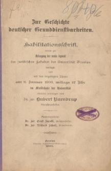 Zur Geschichte deutscher Grunddienstbarkeiten