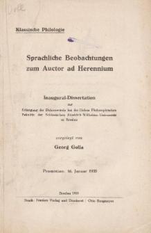 Sprachliche Beobachtungen zum Auctor ad Herennium