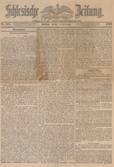 "Wspomnienie pośmiertne Augusta Rossbacha w ""Schlesische Zeitung"" nr 595 z dnia 26.08.1898 roku"
