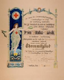 Dyplom Jana Mikulicza-Radeckiego – Zrzeszenie ochotniczych sanitariuszy podczas wojny