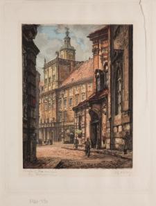 Uniwersytet Wrocławski – widok od południa na Wieżę Matematyczną, Fontannę z Szermierzem i budynek bramny