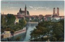 Ostrów Tumski we Wrocławiu – widok z nadodrzańskiego bulwaru