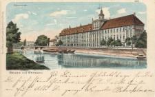 """Uniwersytet Wrocławski – widok od strony Mostu Pomorskiego, """"Gruss aus Breslau"""""""