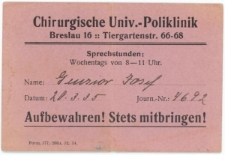 Wejściówka na teren Uniwersyteckiej Polikliniki Chirurgicznej we Wrocławiu