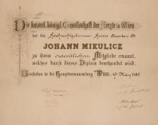Dyplom Jana Mikulicza-Radeckiego – Cesarsko-Królewskie Towarzystwo Lekarzy w Wiedniu
