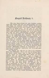 Nekrolog Augusta Rossbacha