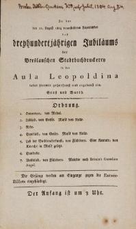 Jubileusz trzystulecia Drukarni Miejskiej we Wrocławiu – uroczystość w Auli Leopoldyńskiej, 21 sierpnia 1804 r.