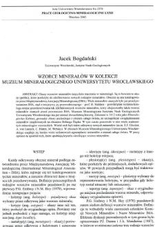 Wzorce minerałów w kolekcji Muzeum Mineralogicznego Uniwersytetu Wrocławskiego
