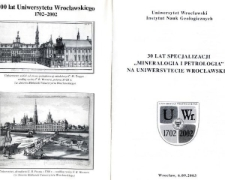 """30 lat specjalizacji """"Mineralogia i petrologia'' na Uniwersytecie Wrocławskim"""